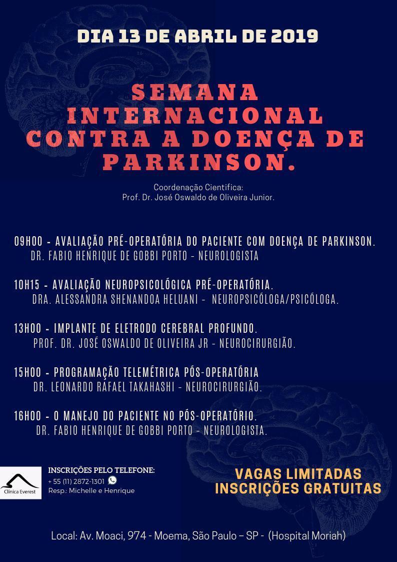 Seminário sobre doença de Parkinson com enfoque no tratamento cirúrgico.