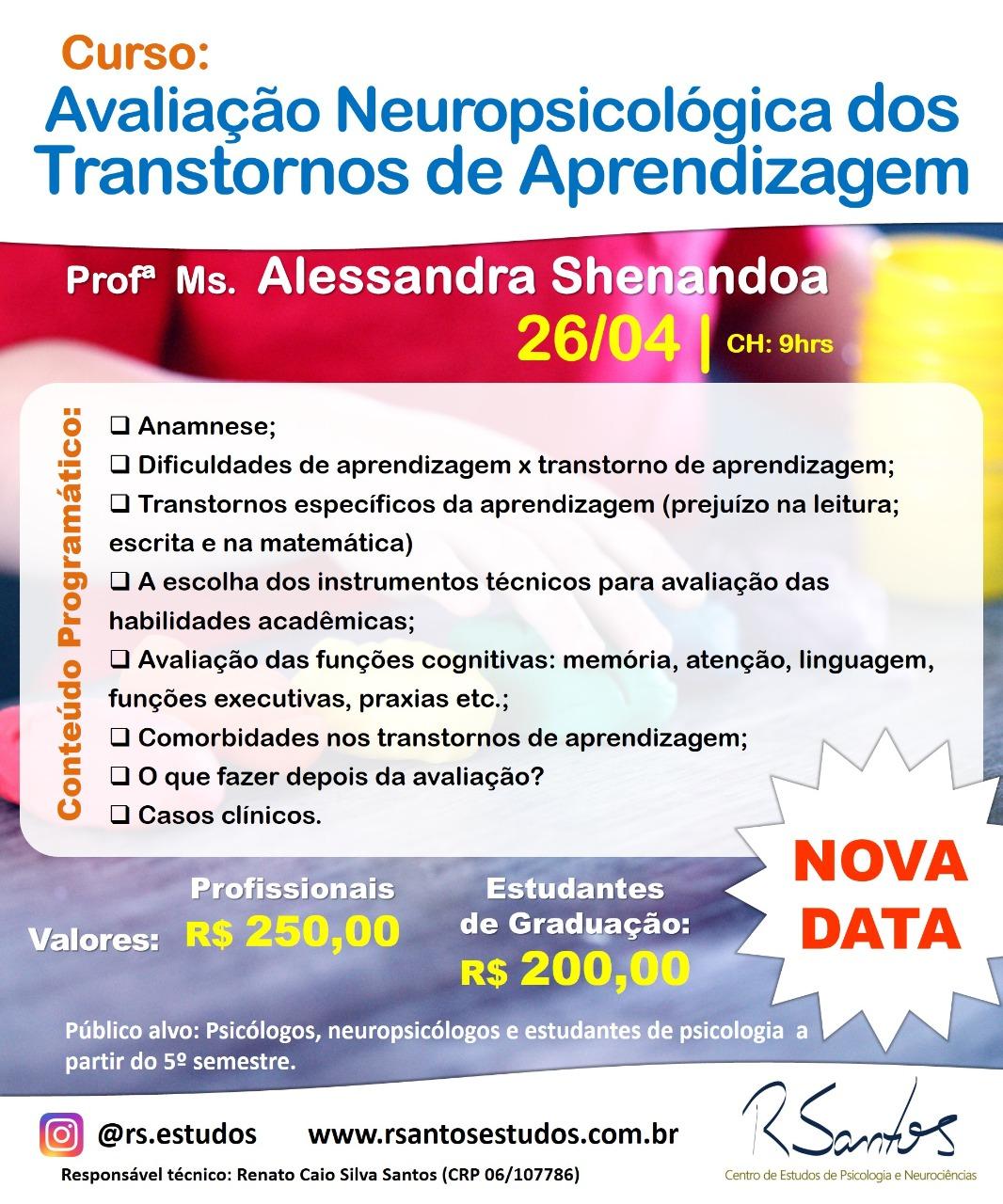 Curso: Avaliação Neuropsicológica dos Transtornos de Aprendizagem