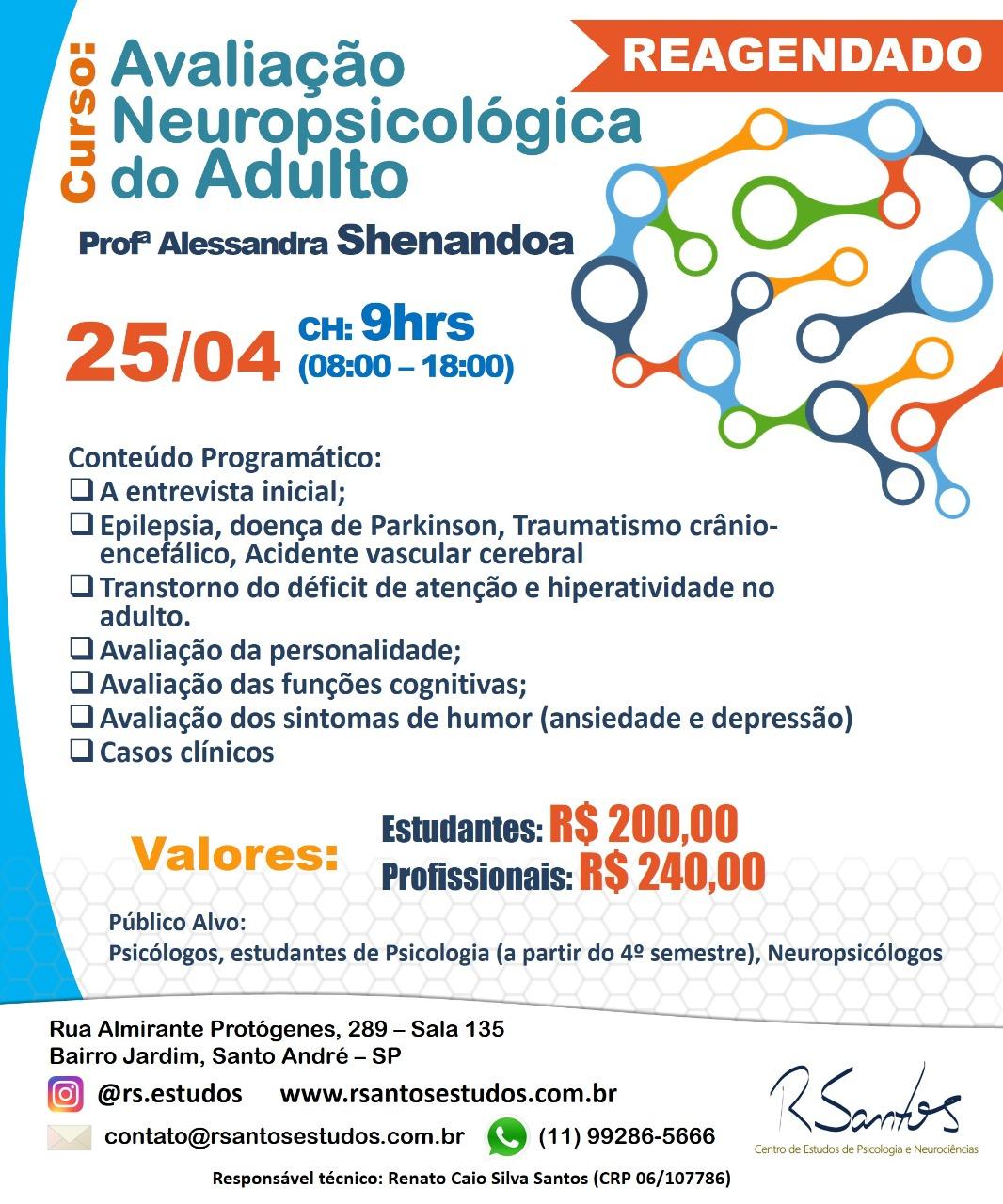 Curso Avaliação Neuropsicológica do Adulto