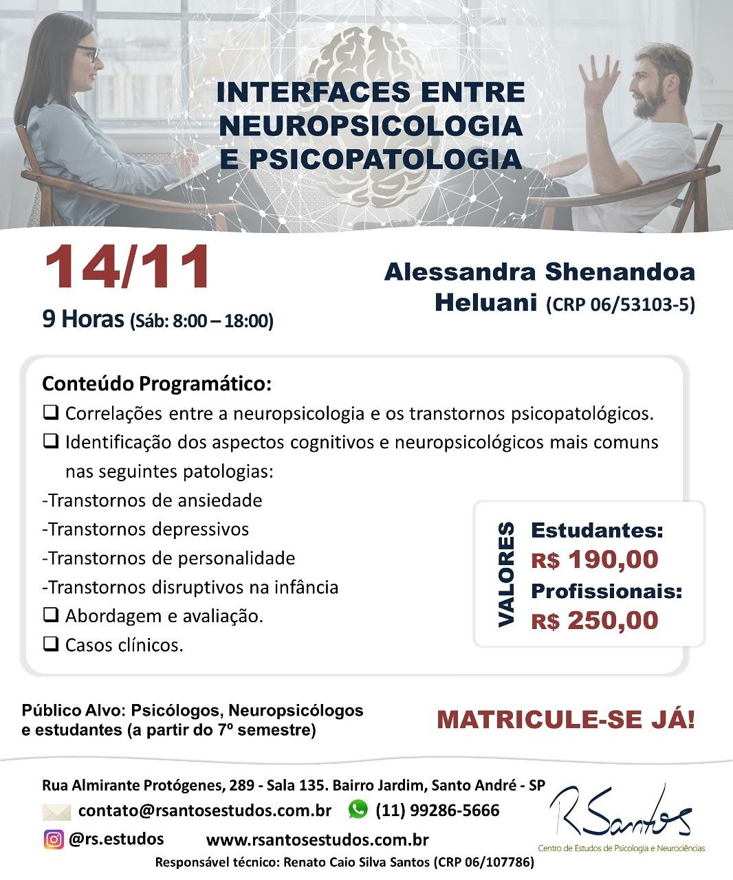 Curso Interfaces entre Neuropsicologia e Psicopatologia – 14/11